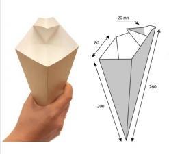 ECO CONE L Упаковка для карт. фри конусная с отдел. под соус, (толщ. 80 мм h 200 мм) 300 мл, 1*25 (400)