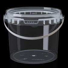 Ведро  2 л, пласт.пищ. прозрачное, d-170мм, h-118мм, 1*140 (Крас. ручка) БЕЗ КРЫШКИ