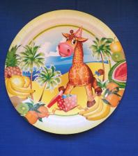 "Картонная тарелка с рис. ""ЖИРАФ"", 180 мм, 1*10 шт. ""Тайга"""