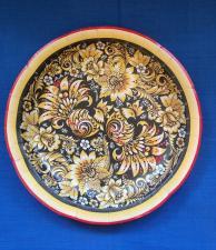 """Картонная тарелка с рис. """"ХОХЛОМА ЧЕРНАЯ"""", 180 мм, 1*10 шт. """"Тайга"""""""