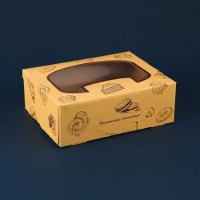 Коробка под пирожное с окном (200х160х70)  БЕЖЕВАЯ, 1*25 (200)