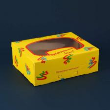 Коробка под пирожное с окном (200х160х70)  ЖЕЛТАЯ, 1*25 (125)