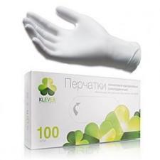 Перчатки виниловые р-р L, 80 мкм, КЛЕВЕР, 1*100шт/50пар в уп. (10уп/кор)