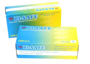 Перчатки латекс. медицин., бел., р-р M, 1*100 шт/50пар (10уп/кор) BI-SAFE