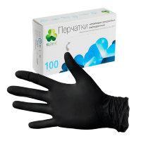 Перчатки медицин., текстур. нитриловые, размер S, 1*100шт/50 пар КЛЕВЕР (10уп/кор) ЧЁРНЫЕ