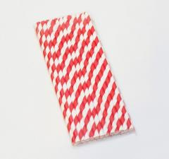 Соломка бумажная d 5 мм, L 193 мм, ЛЕДЕНЕЦ бело-красный, 1*25 шт (10уп/1кор) GVS-05