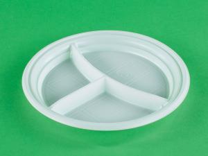 Тарелка 3-х, 205 мм, белая, РР, 1*50 шт. (1000 шт./20 уп. в кор.) ПД