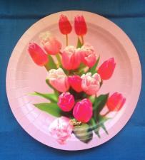"Тарелка картонная 230 мм, ""Тюльпаны"", 1*100 (500)"