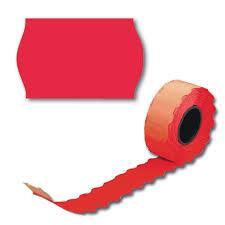 Этикет-лента  26х12, волна красная, 1*5 рул. (200 рул./40 уп. в кор.)